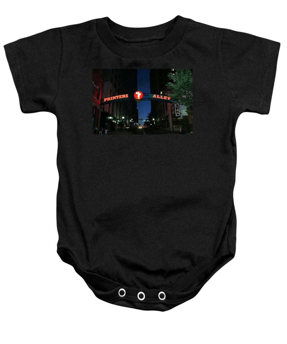 Printers Alley Baby Onesie featuring the photograph Printers Alley In Nashville by Kristin Elmquist