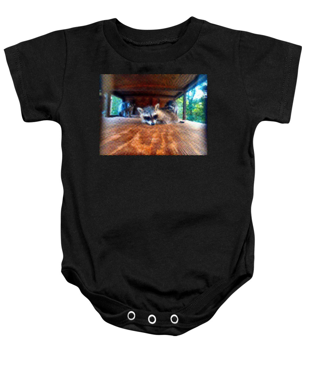 Animal Baby Onesie featuring the photograph Psycodelic Furries by Art Dingo