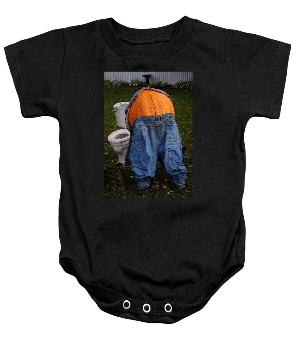 Usa Baby Onesie featuring the photograph Pumpkin Butt by LeeAnn McLaneGoetz McLaneGoetzStudioLLCcom
