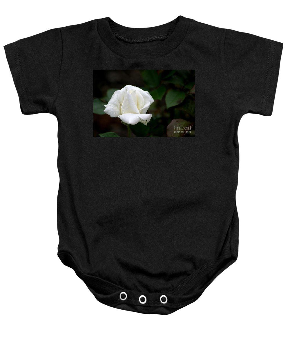 White Baby Onesie featuring the photograph Pure As Snow by Living Color Photography Lorraine Lynch