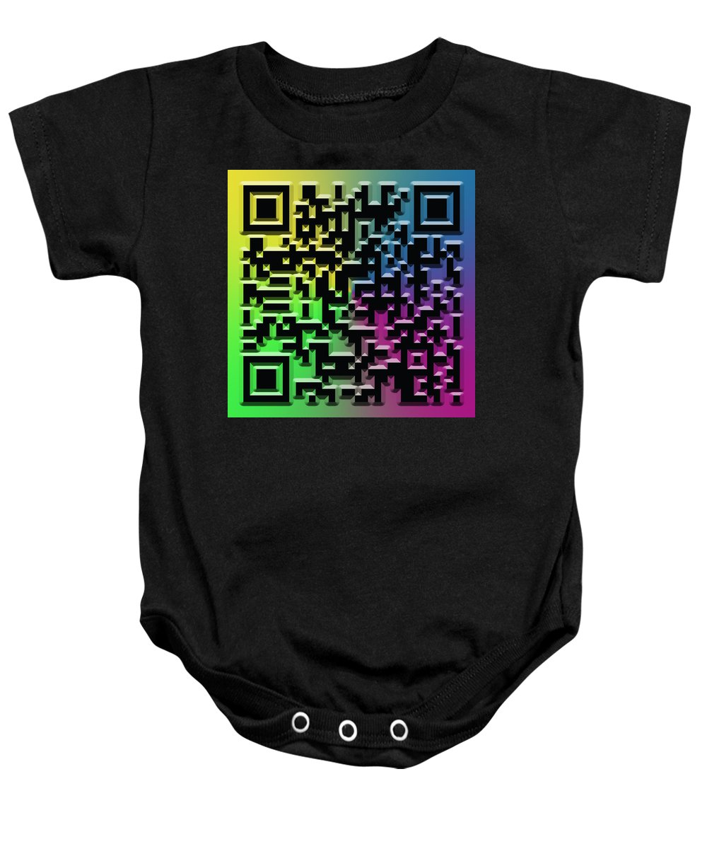 Abstract Baby Onesie featuring the digital art Qr Art by Ricky Barnard