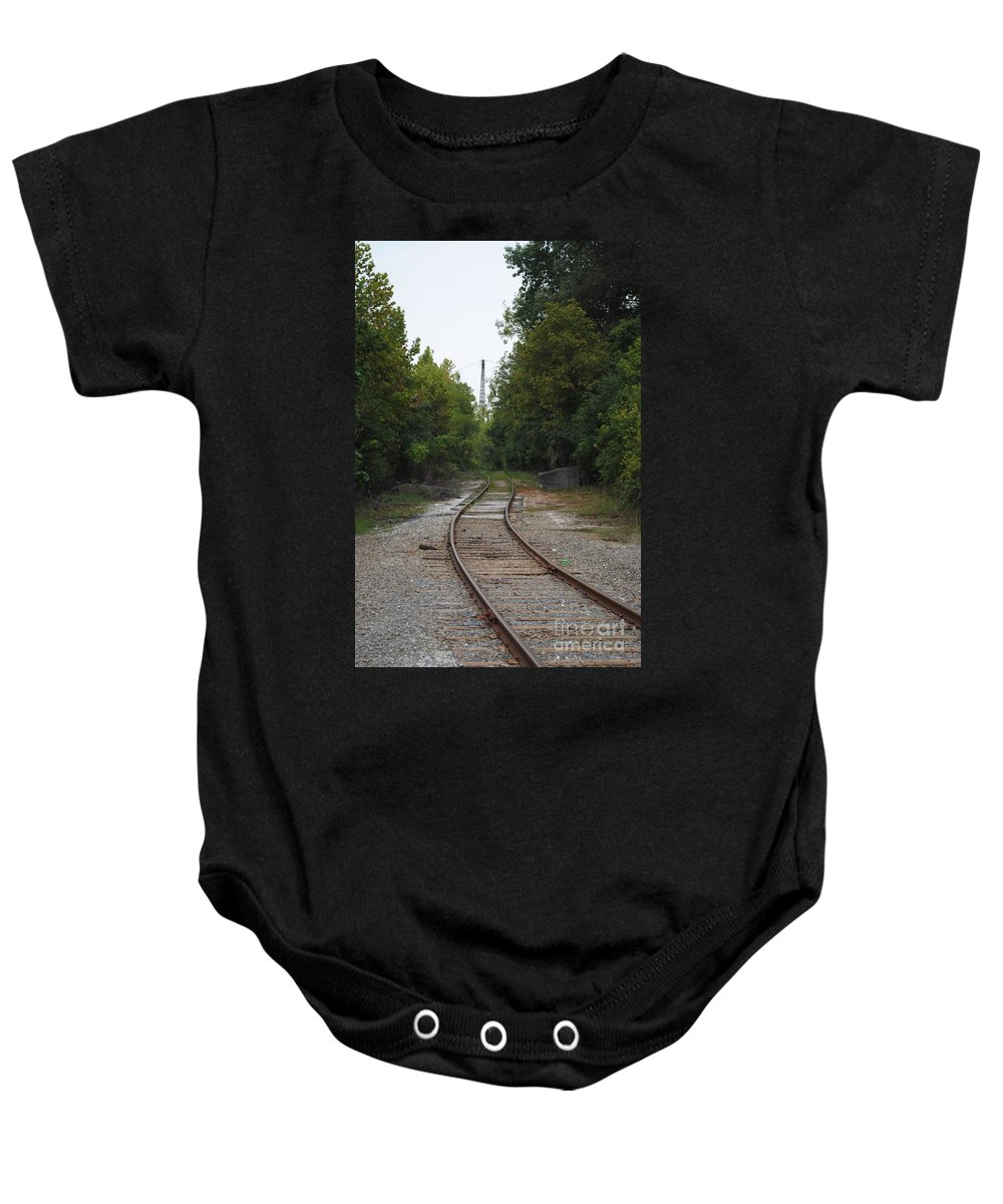 Rail Baby Onesie featuring the photograph Rail To The Forest by Jost Houk
