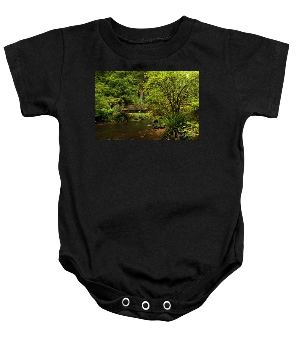 Silver Falls State Park Baby Onesie featuring the photograph Rain Forest Bridge by Adam Jewell