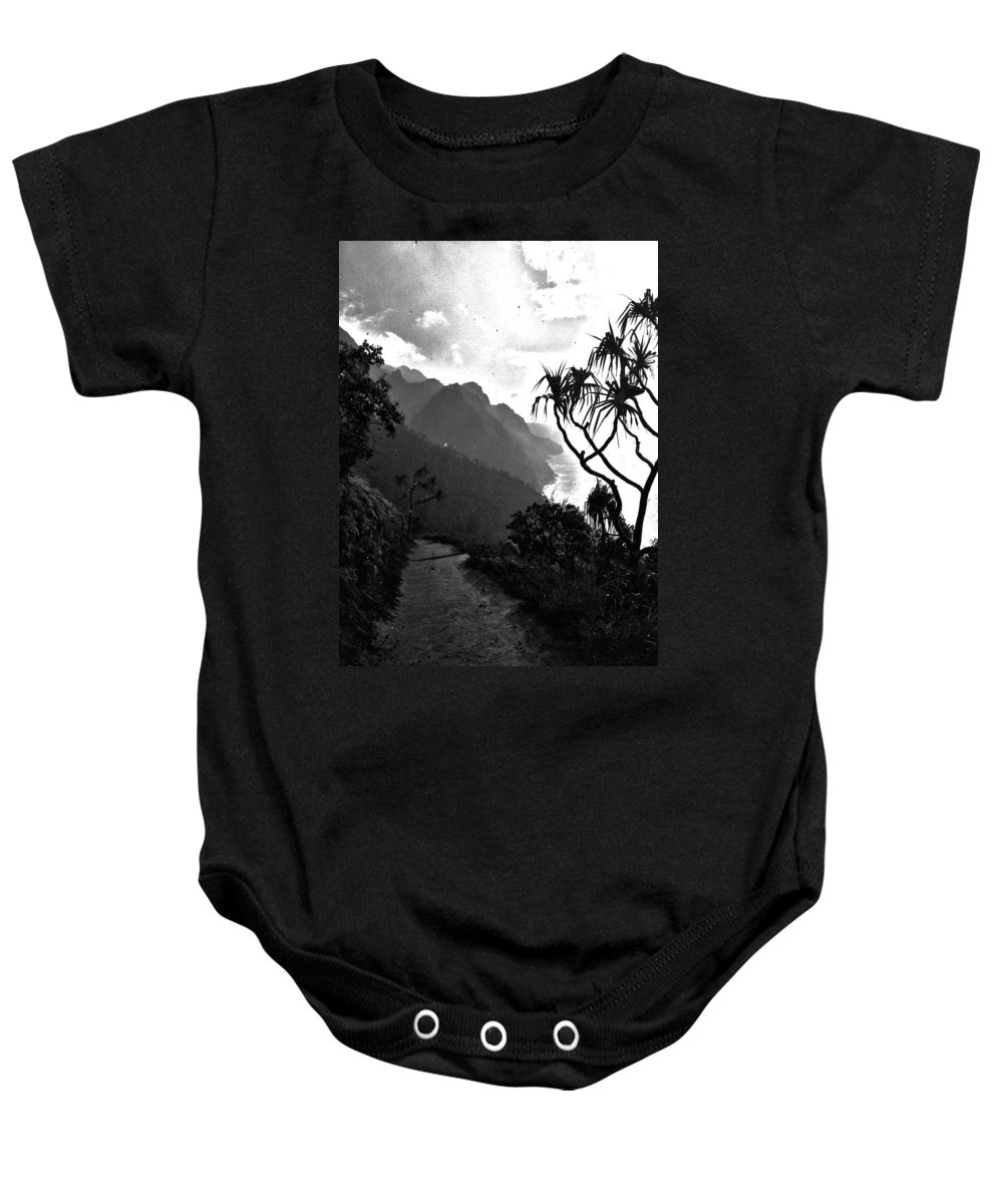 Background Baby Onesie featuring the photograph Raining On The Kalalau Trail by Artistic Photos