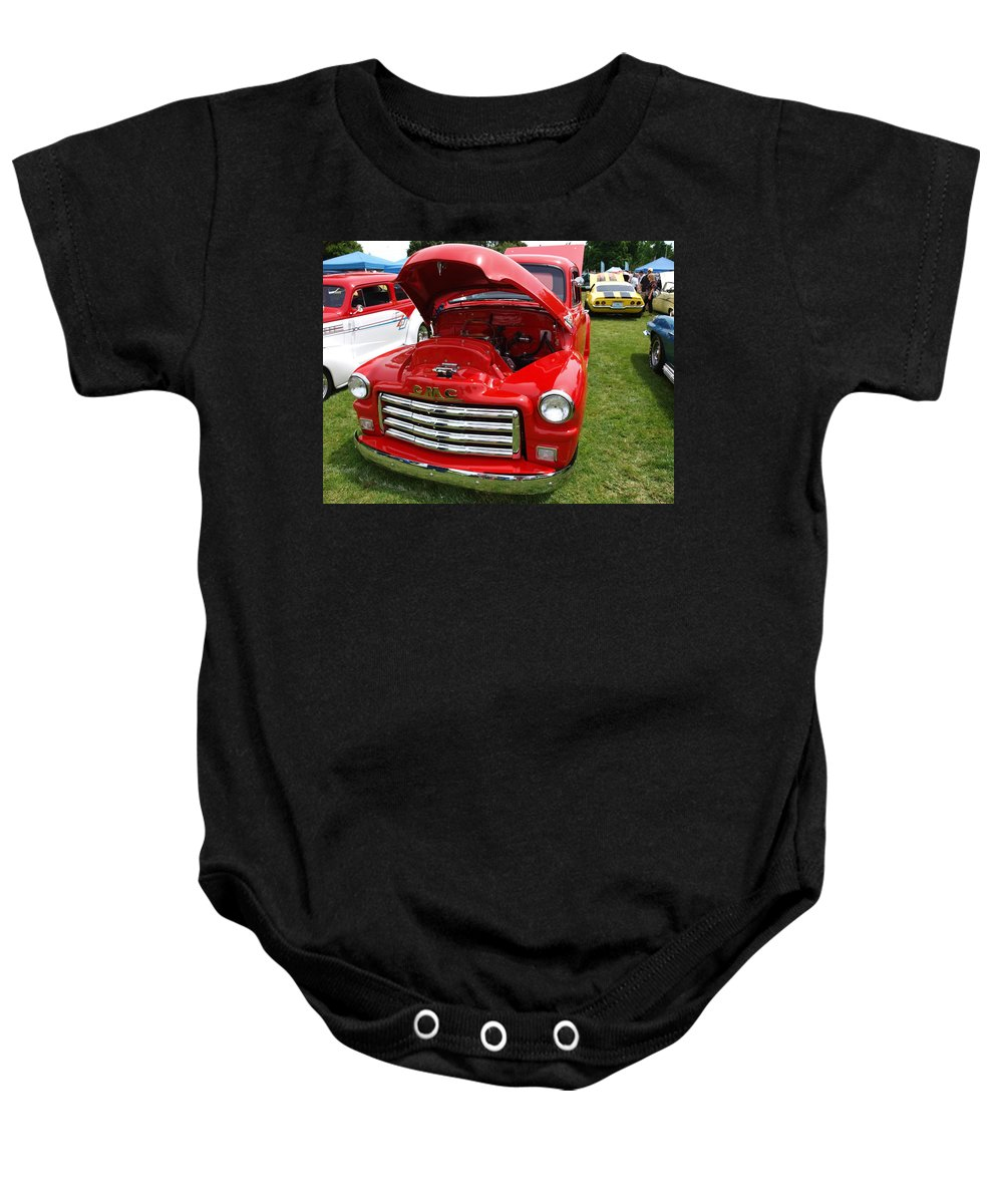 Red Baby Onesie featuring the photograph Red Gmc by Teri Schuster