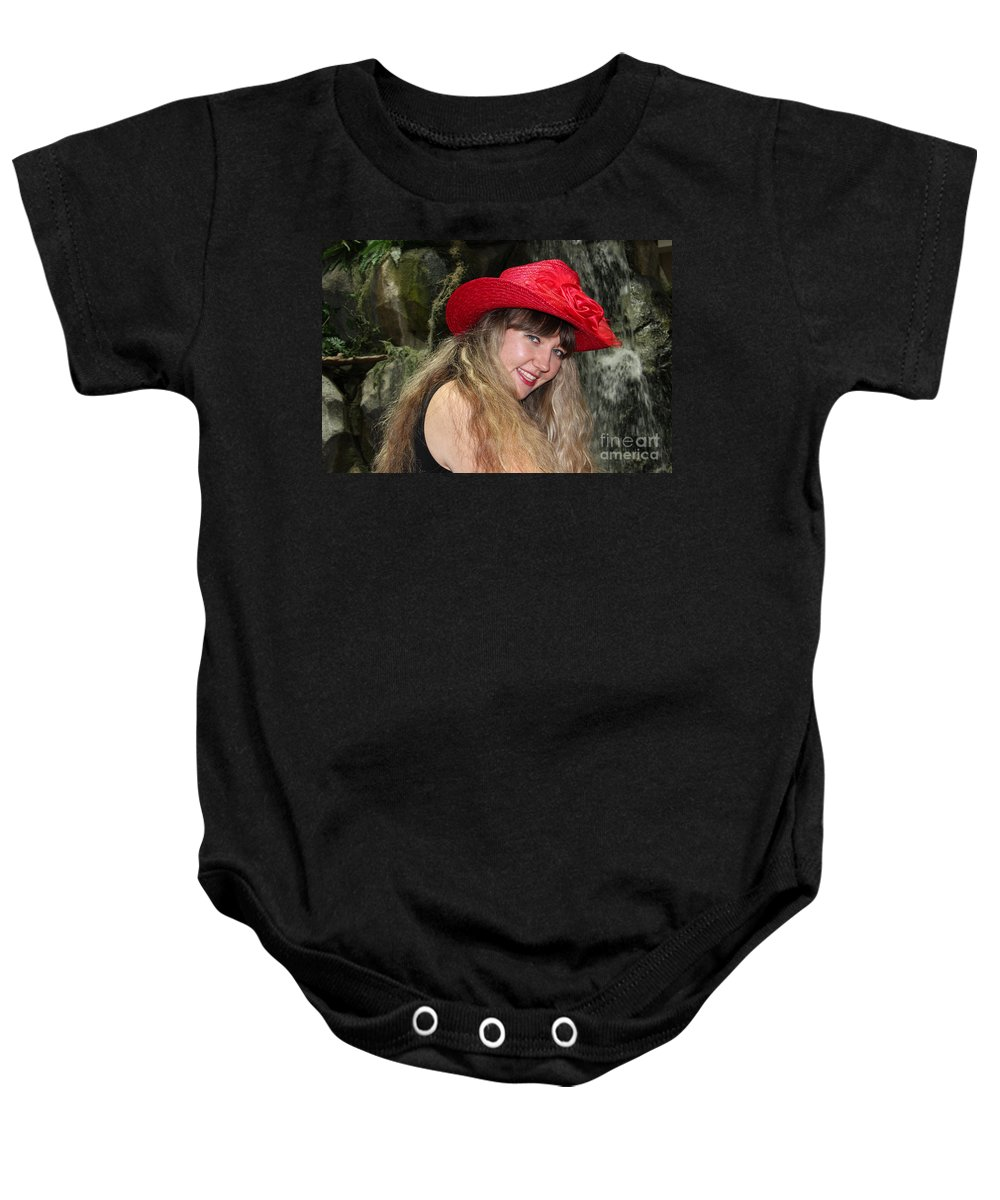 Flirty Baby Onesie featuring the photograph Red Hat And A Blonde by Mariola Bitner
