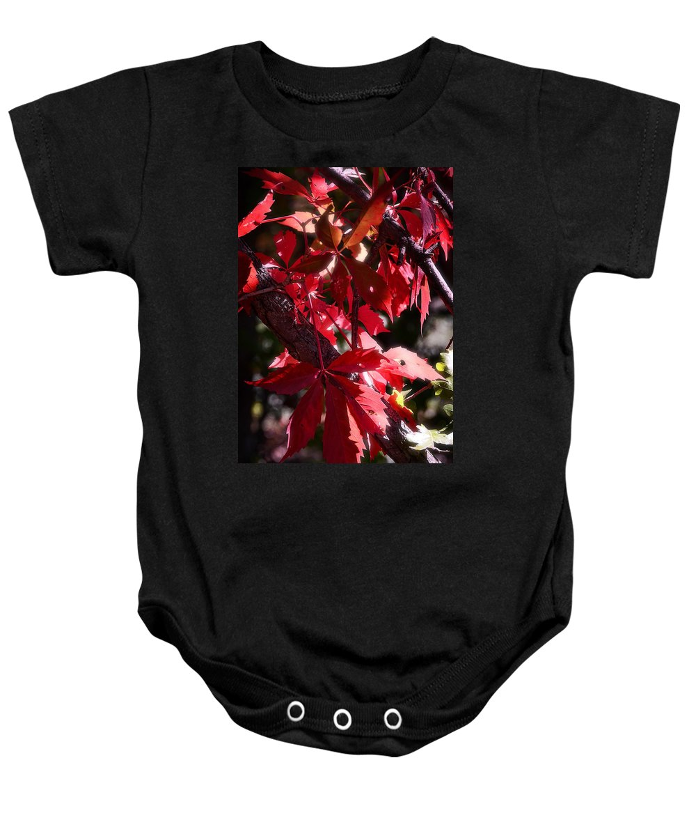 Red Baby Onesie featuring the photograph RED by Saija Lehtonen