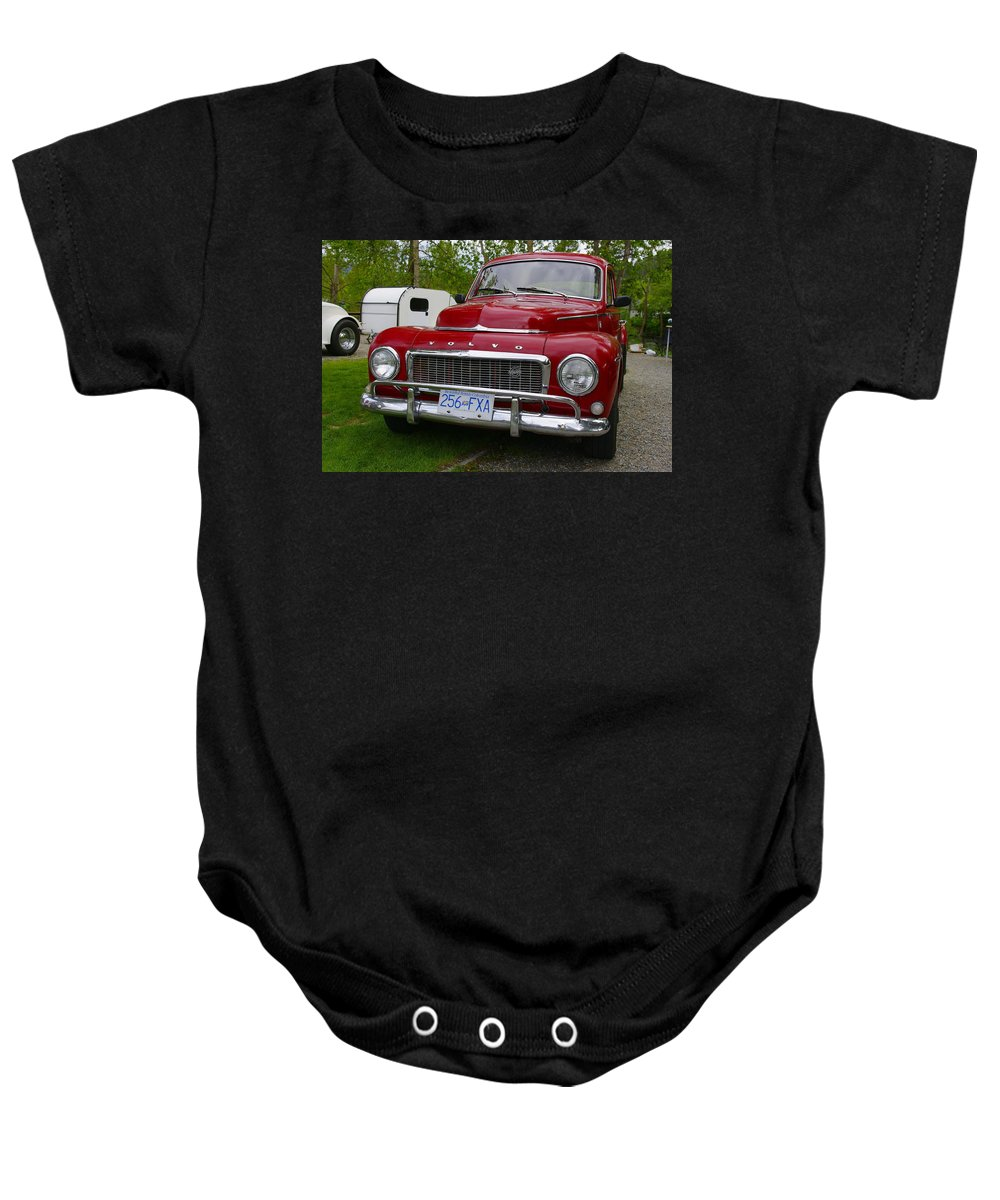 Red Baby Onesie featuring the photograph Red Volvo by John Greaves