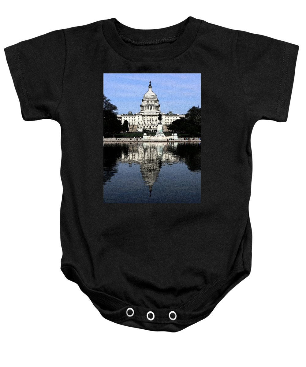 Capital Baby Onesie featuring the photograph Reflective Government by Kevin Fortier