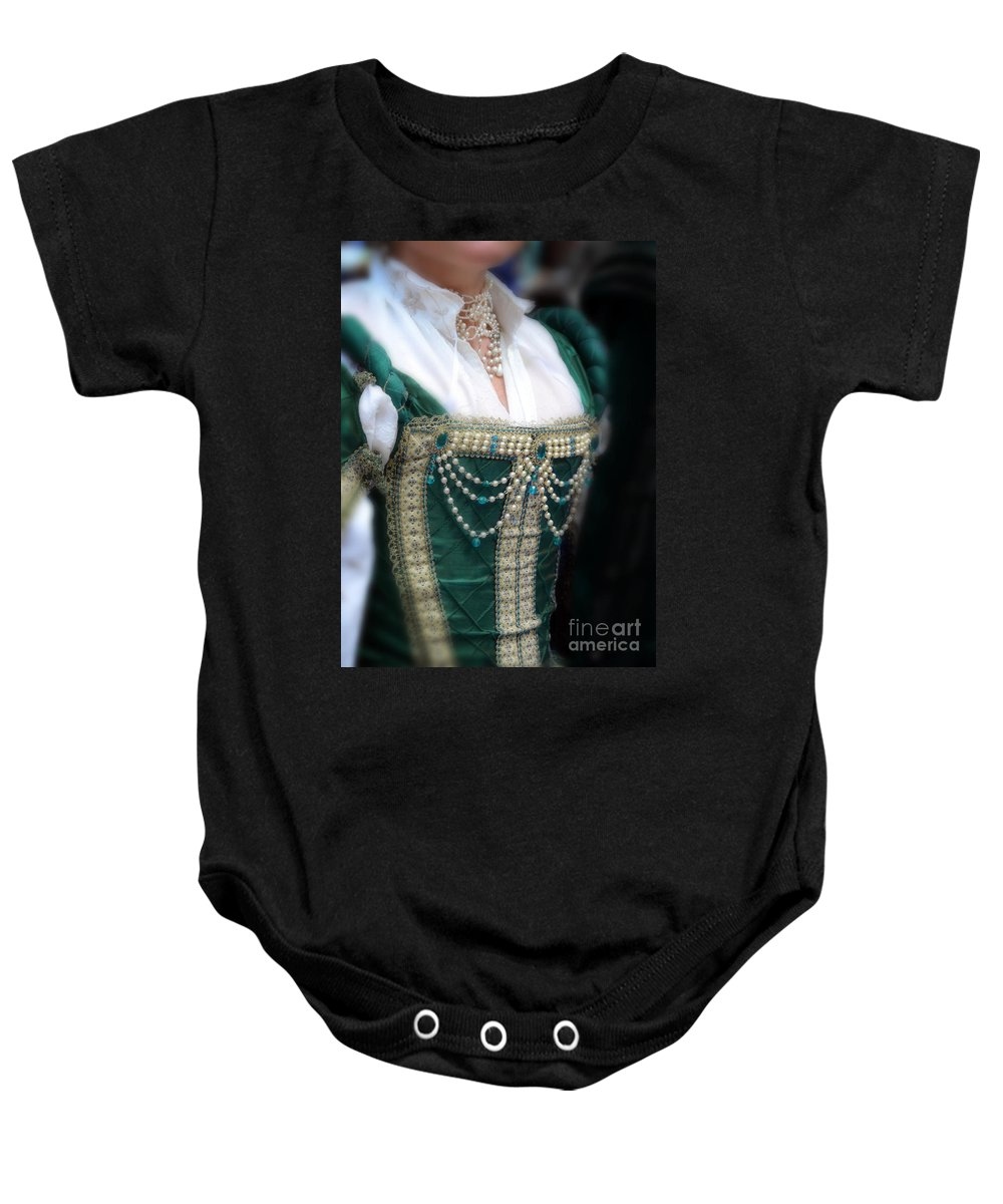 Woman Baby Onesie featuring the photograph Renaissance Lady In Green by Jill Battaglia