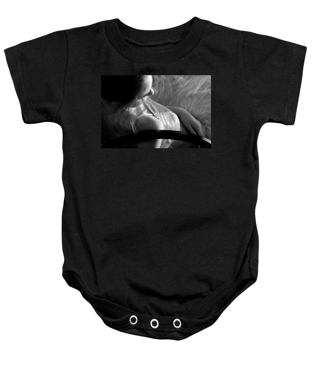 Girl Baby Onesie featuring the photograph Repose Bw by Angelina Vick