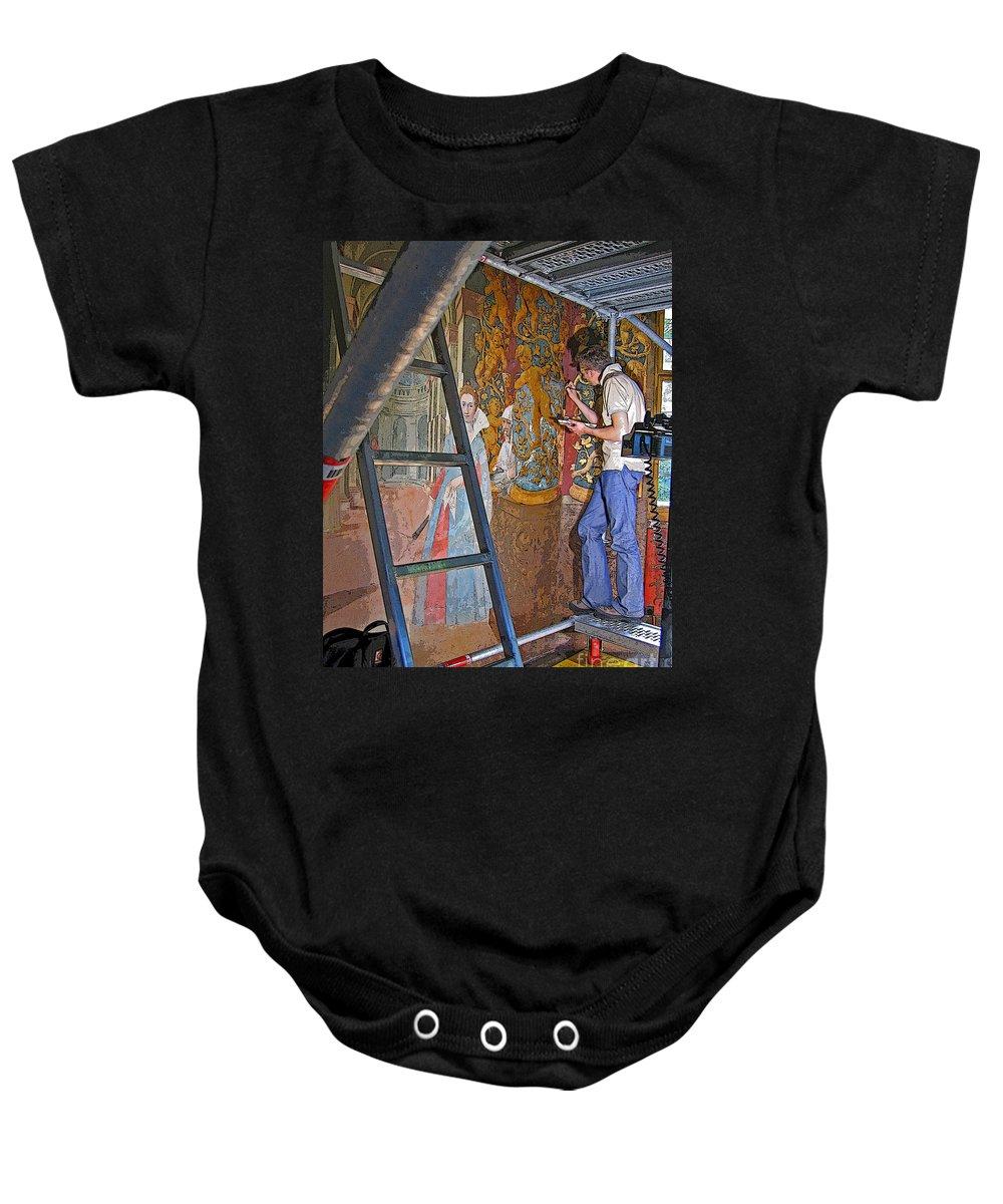 Art Baby Onesie featuring the photograph Restoring Art by Ann Horn