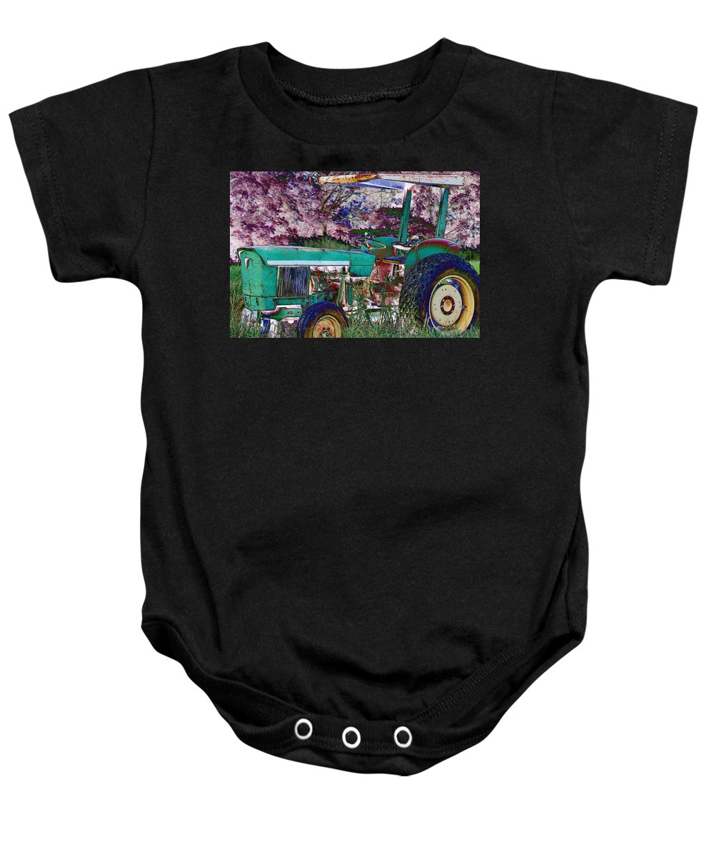 Tractor Baby Onesie featuring the photograph Retired In Color by Karen Wagner