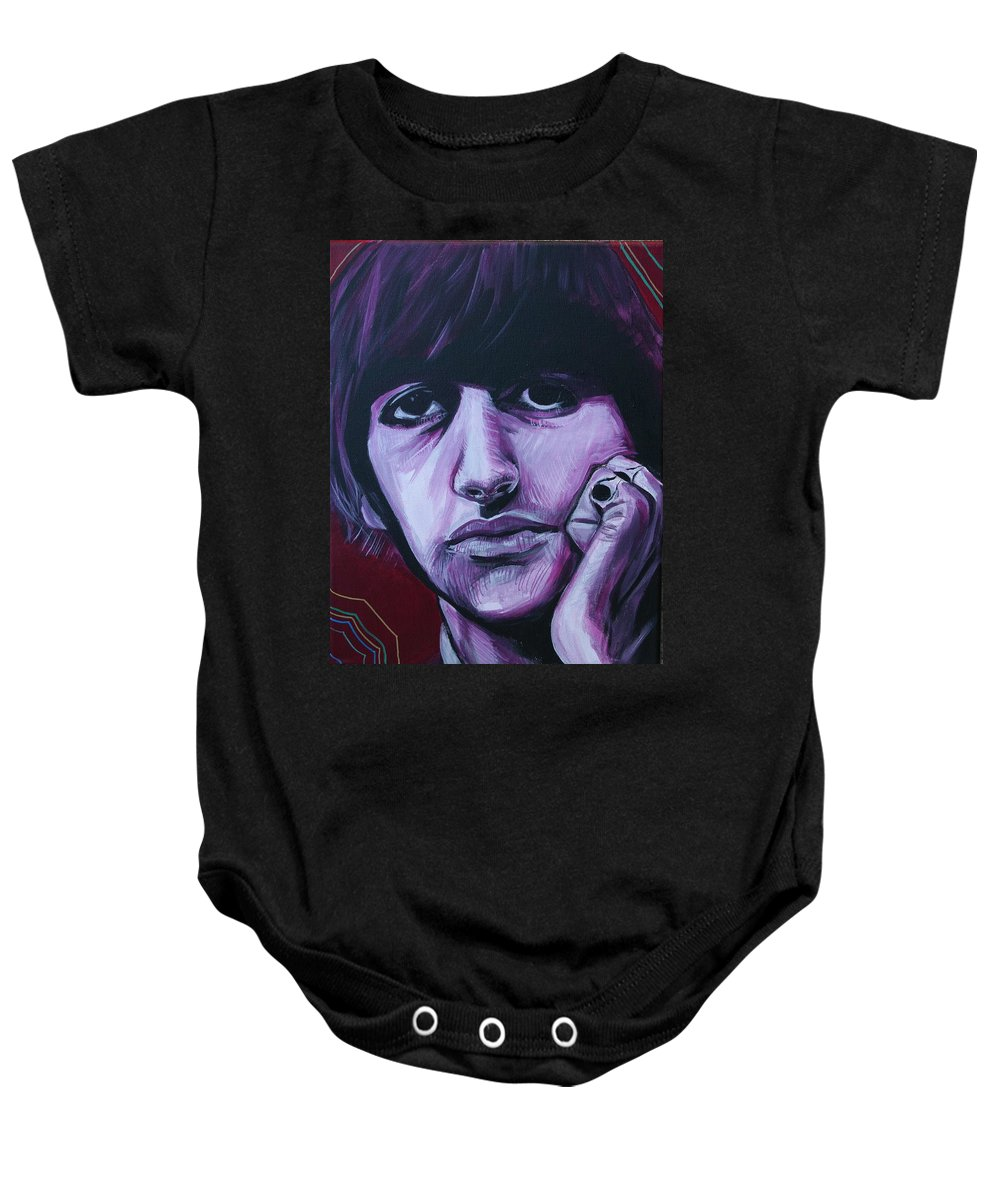 Beatles Baby Onesie featuring the painting Ringo Star by Kate Fortin