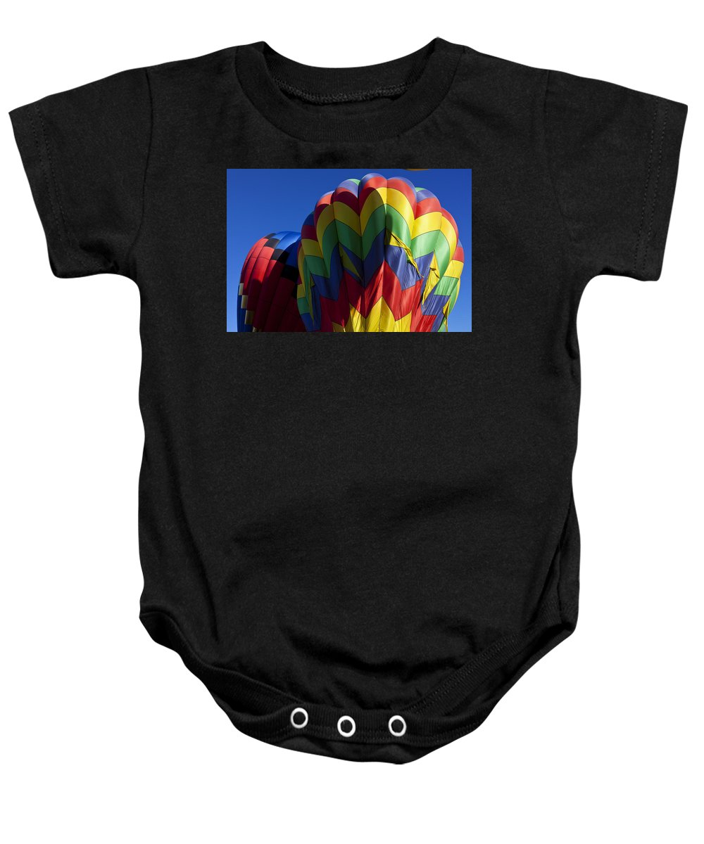 Hot Air Balloon Baby Onesie featuring the photograph Rising Hot Air Balloons by Garry Gay