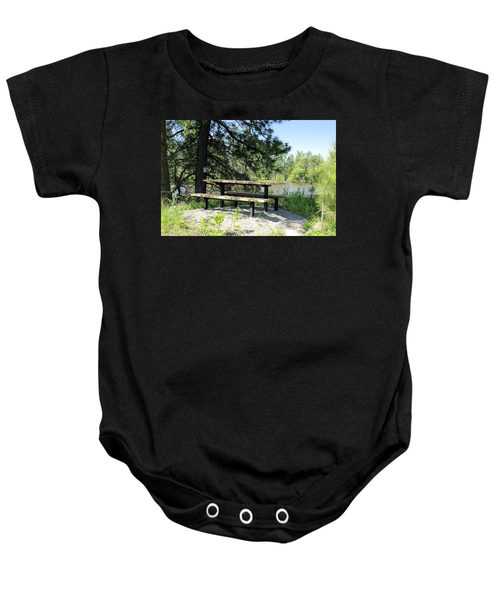 Picnic Baby Onesie featuring the photograph River Rest Stop by John Greaves