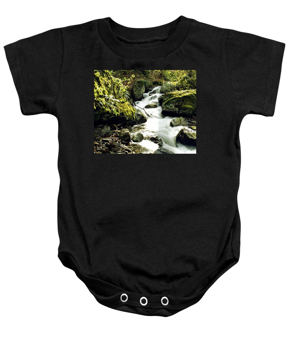 Brook Baby Onesie featuring the photograph River With Rocks In The Forest by David Chapman