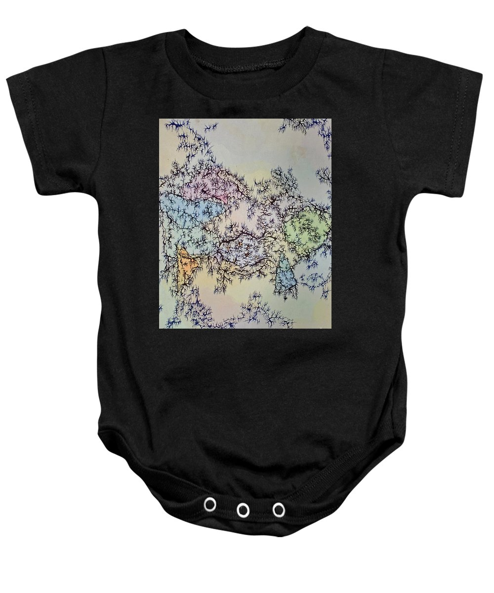 Mixed Media Baby Onesie featuring the mixed media Roots by Danielle Scott