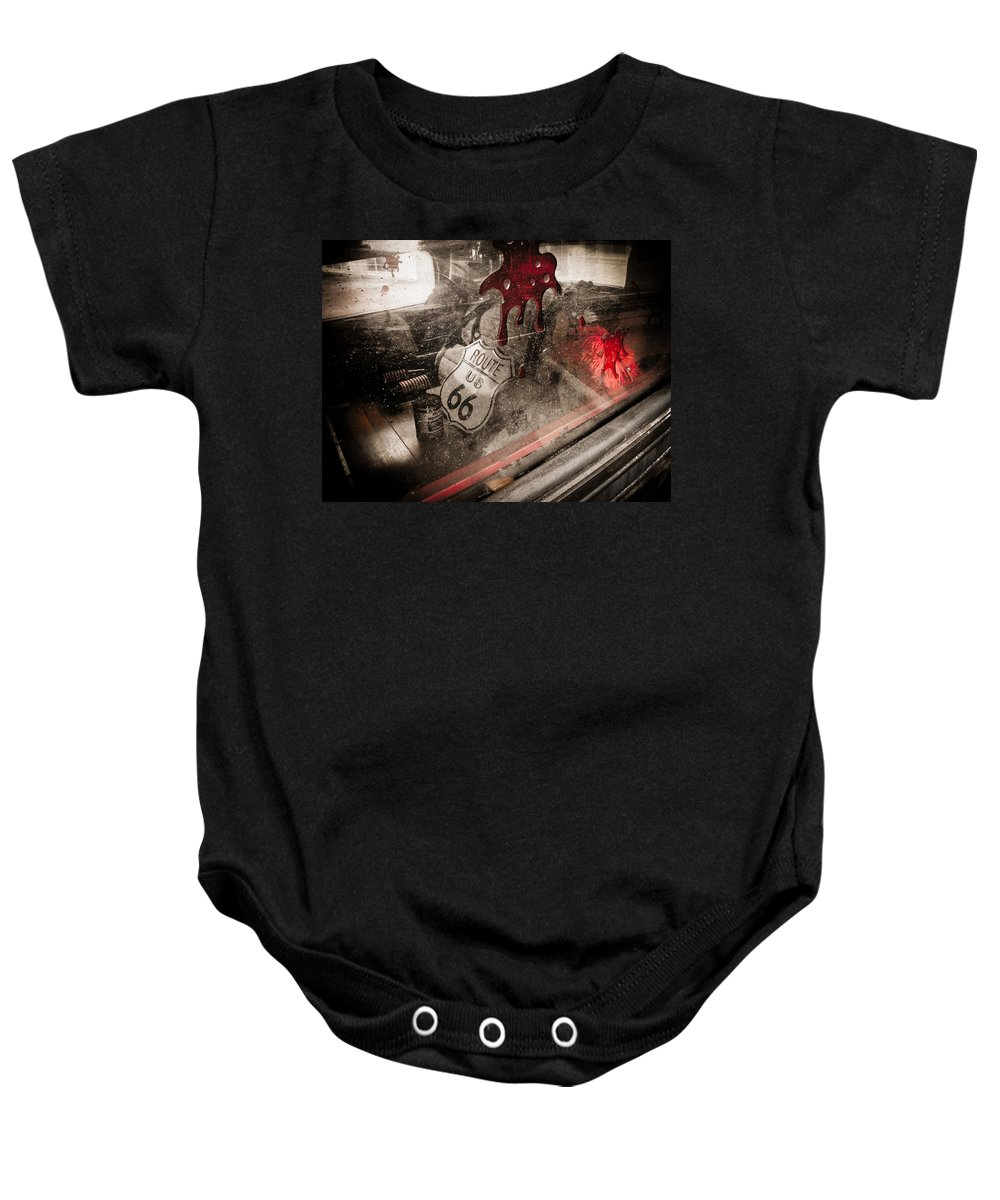 Car Baby Onesie featuring the photograph Route 66 by Jessica Brawley