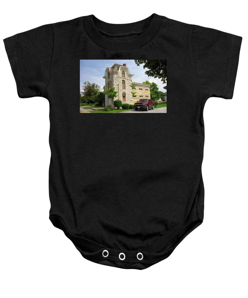 66 Baby Onesie featuring the photograph Route 66 - Macoupin County Jail by Frank Romeo