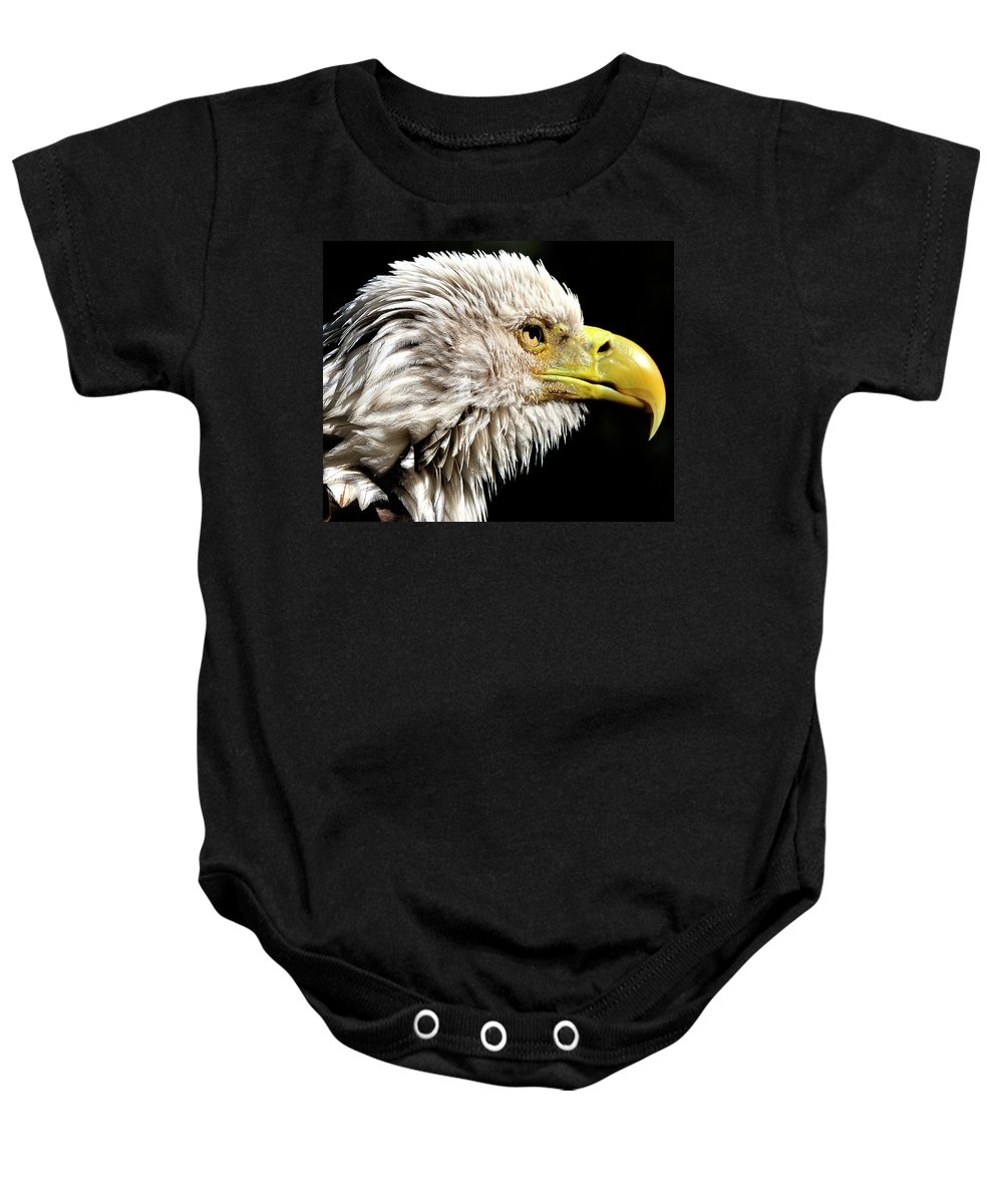 Bald Baby Onesie featuring the photograph Ruffled Bald Eagle by Bill Dodsworth