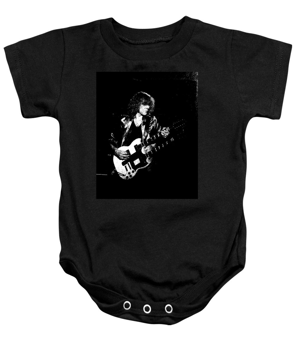 Rock Art Baby Onesie featuring the photograph Rushing In Spokane 1978 Sketch by Ben Upham