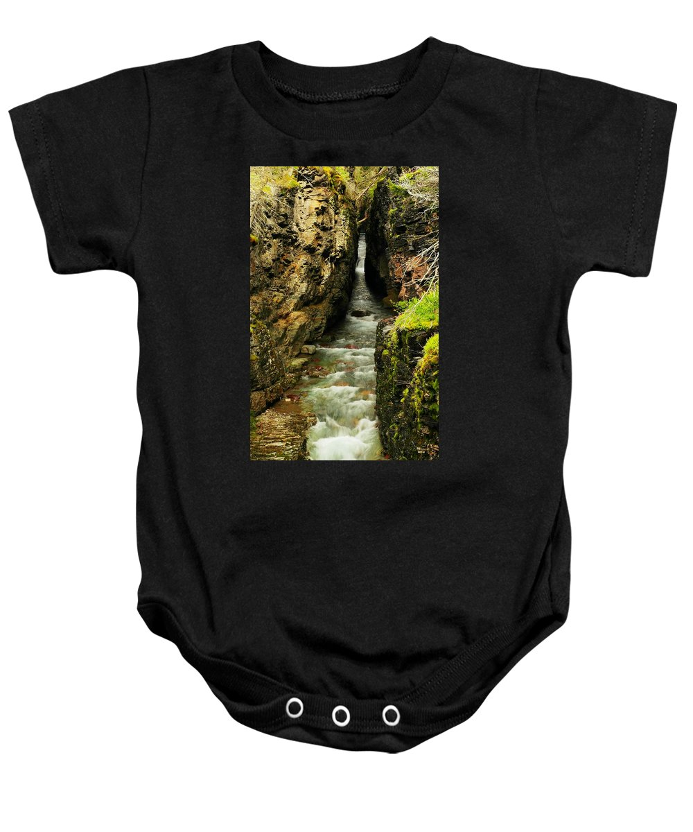 Water Baby Onesie featuring the photograph Rushing Through The Chasm by Jeff Swan