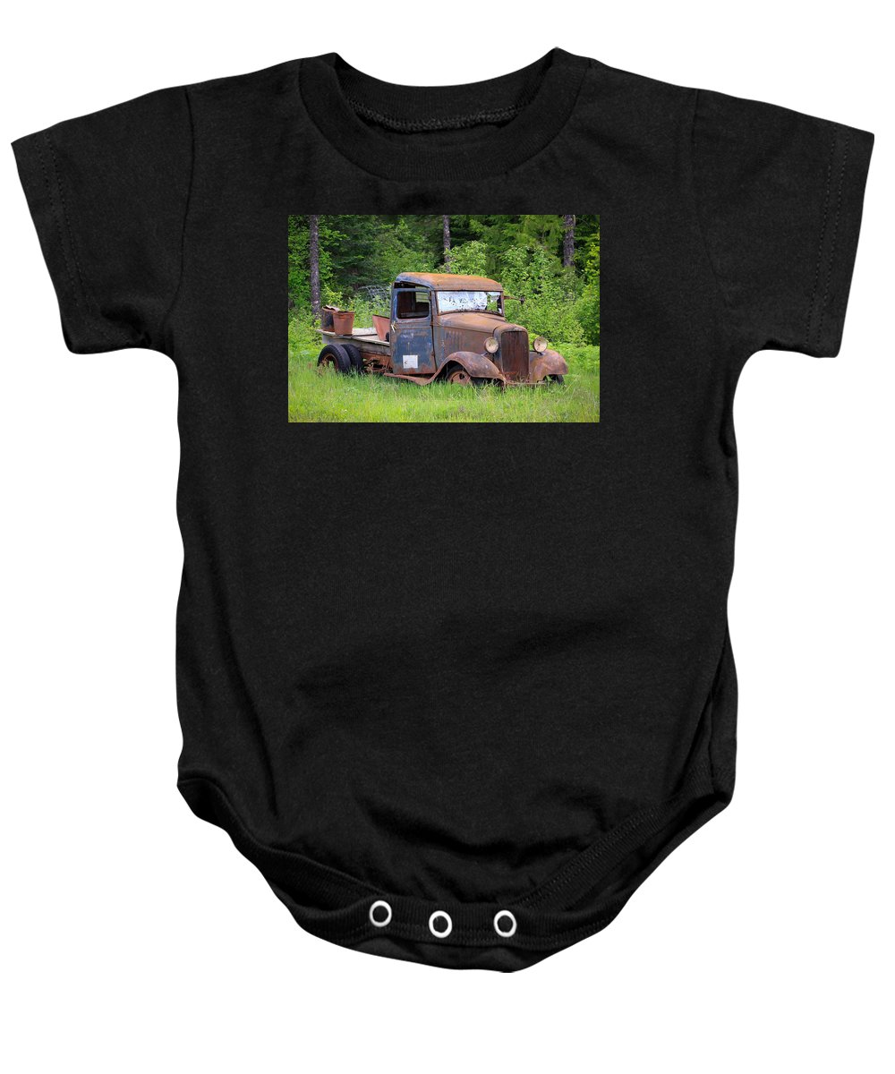 Abandoned Truck Baby Onesie featuring the photograph Rusty Chevy by Steve McKinzie