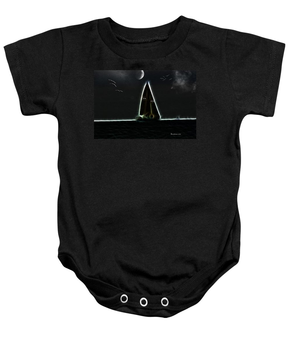 Ny Baby Onesie featuring the photograph Sailing At Midnight by Ericamaxine Price