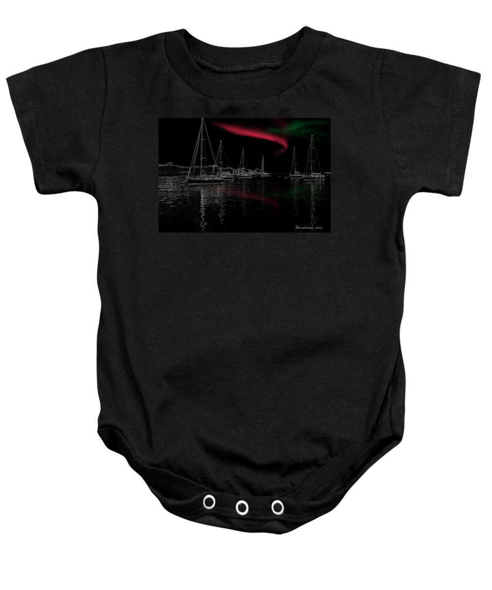 Ny Baby Onesie featuring the photograph Sailing Under Strange Lights by Ericamaxine Price