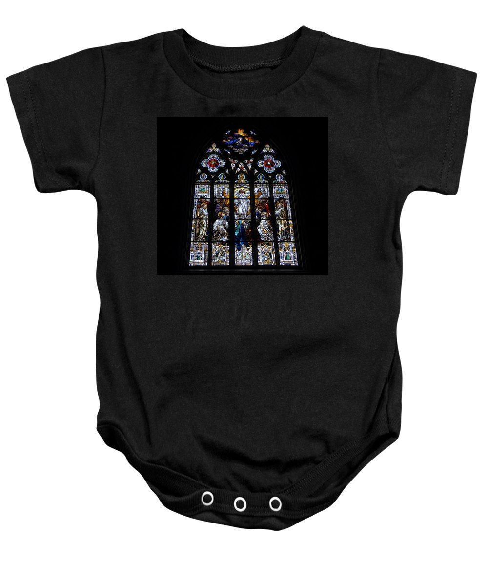 Saint Johns Catholic Church Savannah Georgia Baby Onesie featuring the photograph Saint Johns Stained Glass by David Lee Thompson