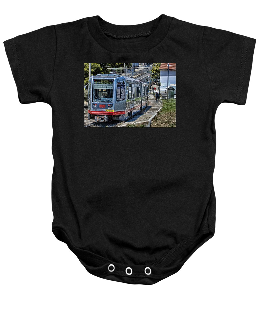 J Church Baby Onesie featuring the photograph San Francisco Muni by Jay Hooker