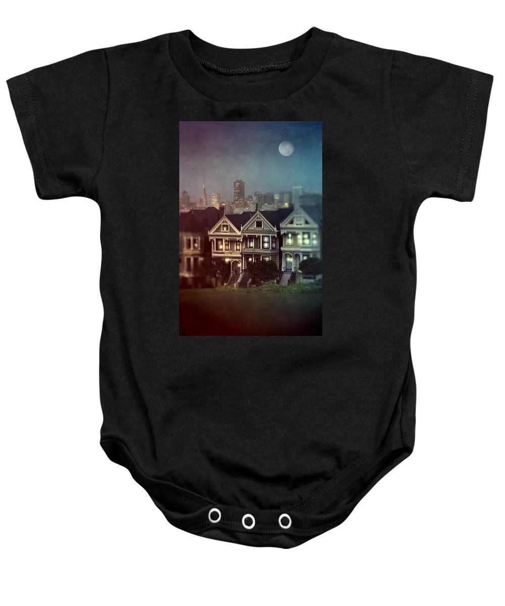 San Francisco Baby Onesie featuring the photograph San Francisco Night by Jill Battaglia