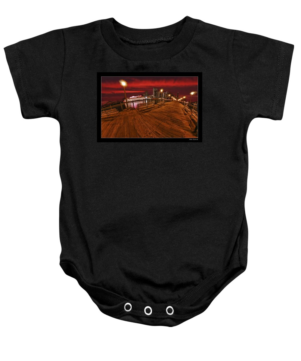 Art Photography Baby Onesie featuring the photograph San Francisco Red Sky Pier by Blake Richards
