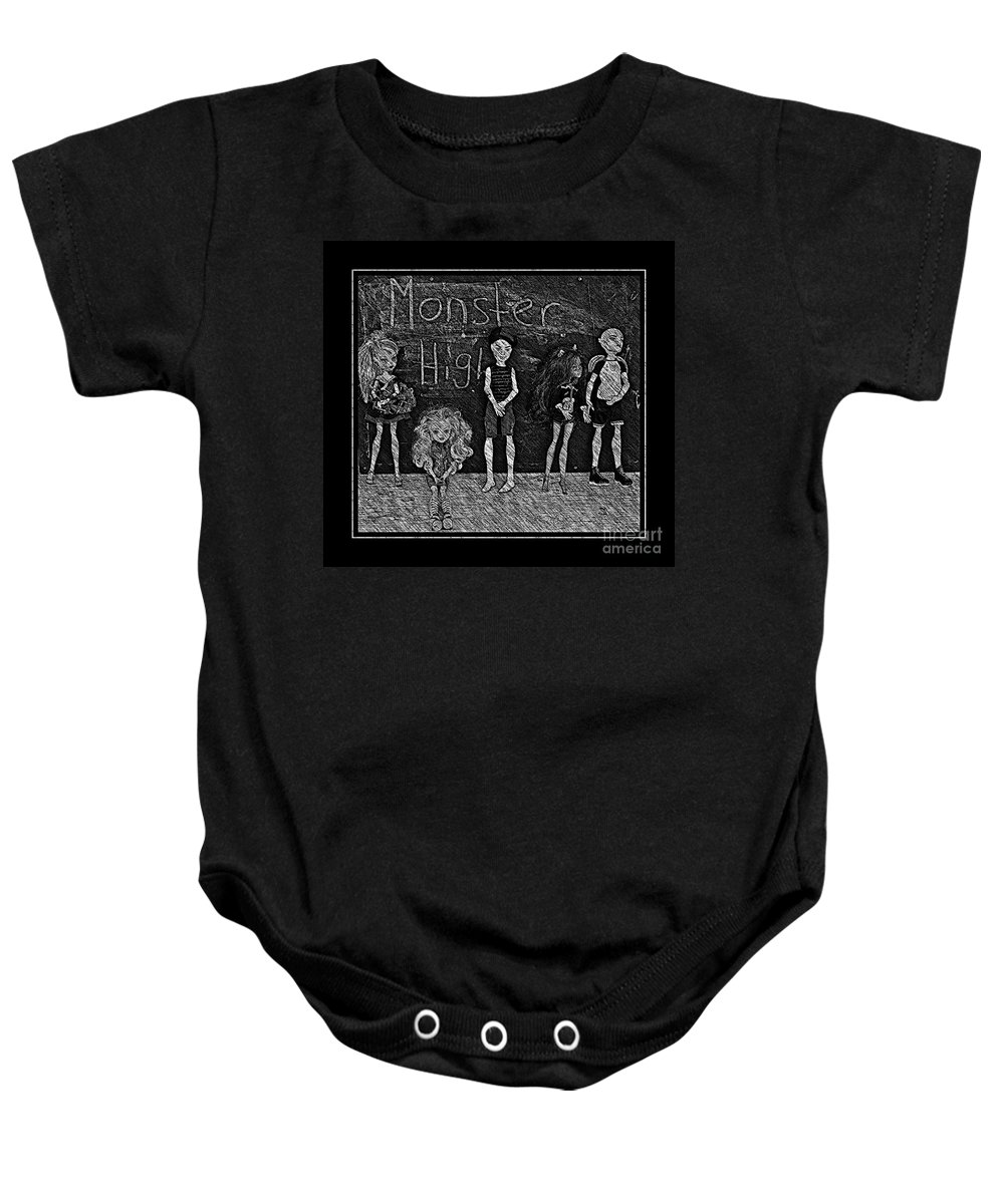 Monster High Baby Onesie featuring the digital art Sarah's Monster High Collection Black And White Sketch by Barbara Griffin