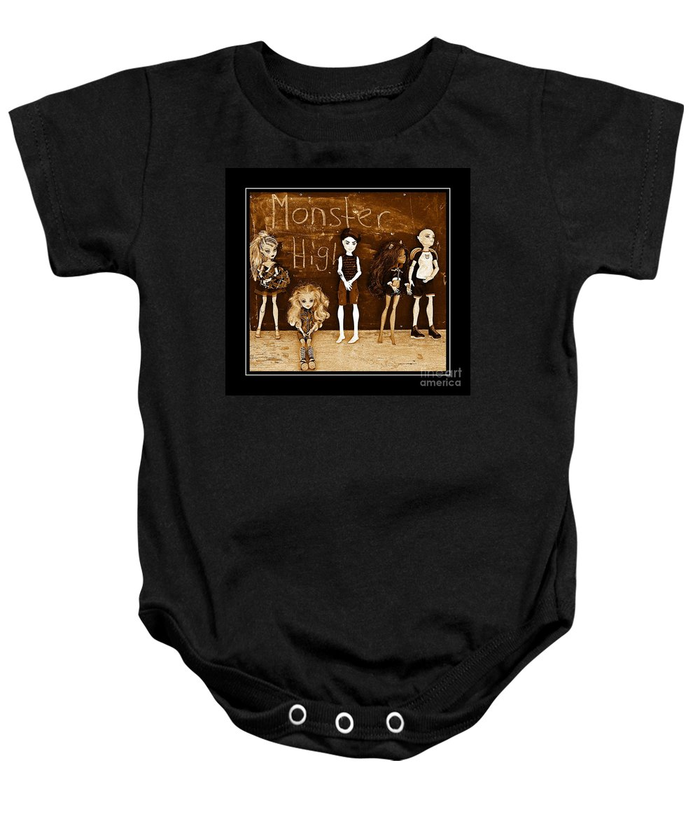 Monster High Baby Onesie featuring the digital art Sarah's Monster High Collection Sepia by Barbara Griffin