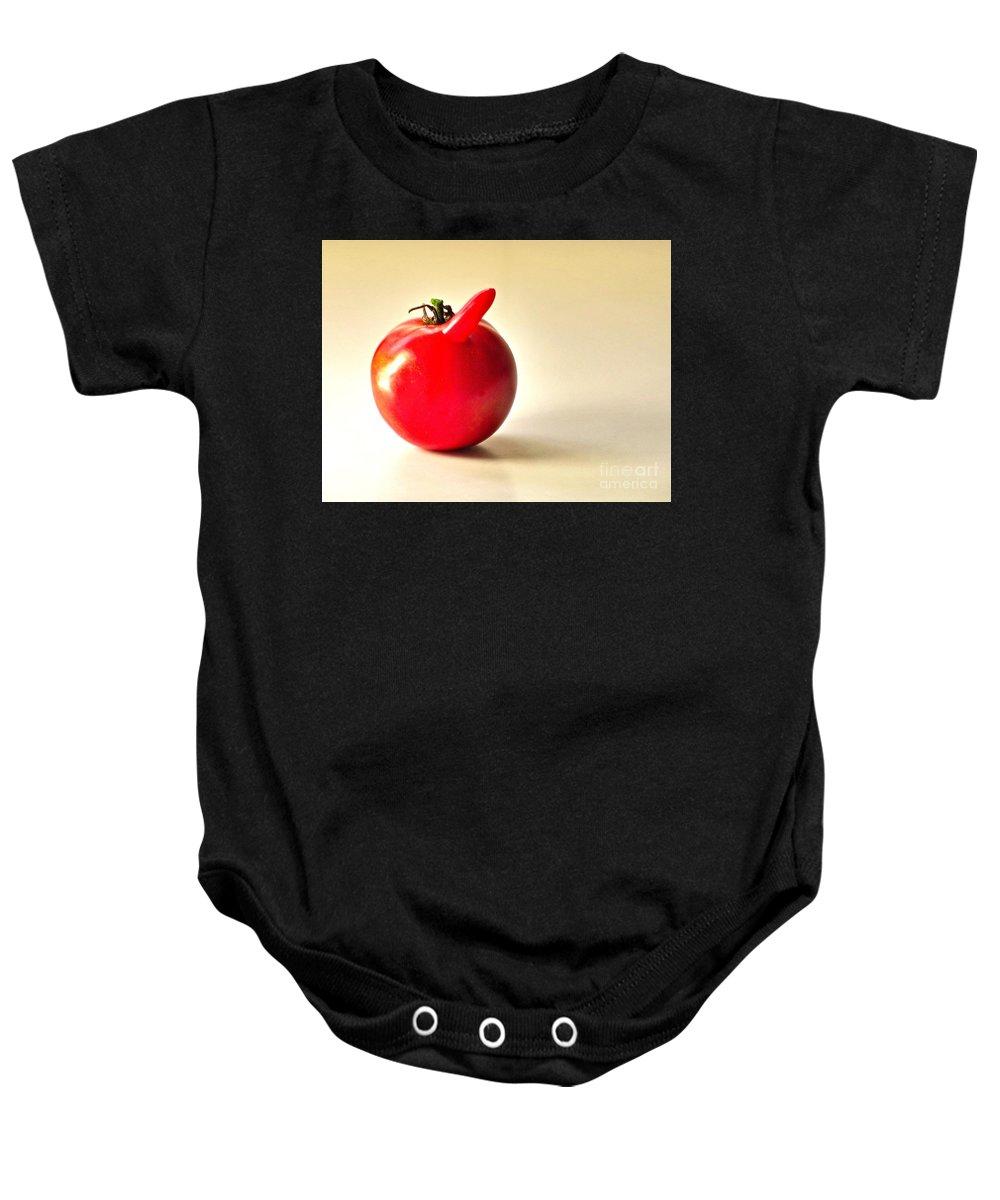 Garden Baby Onesie featuring the photograph Saucy Tomato by Sean Griffin