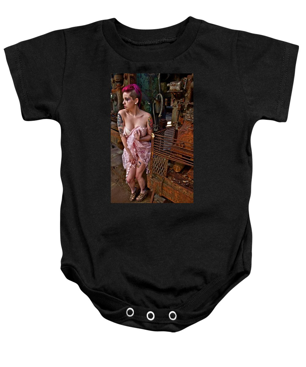 Lady Hooker Machinery Scared Baby Onesie featuring the photograph Scared by Alice Gipson