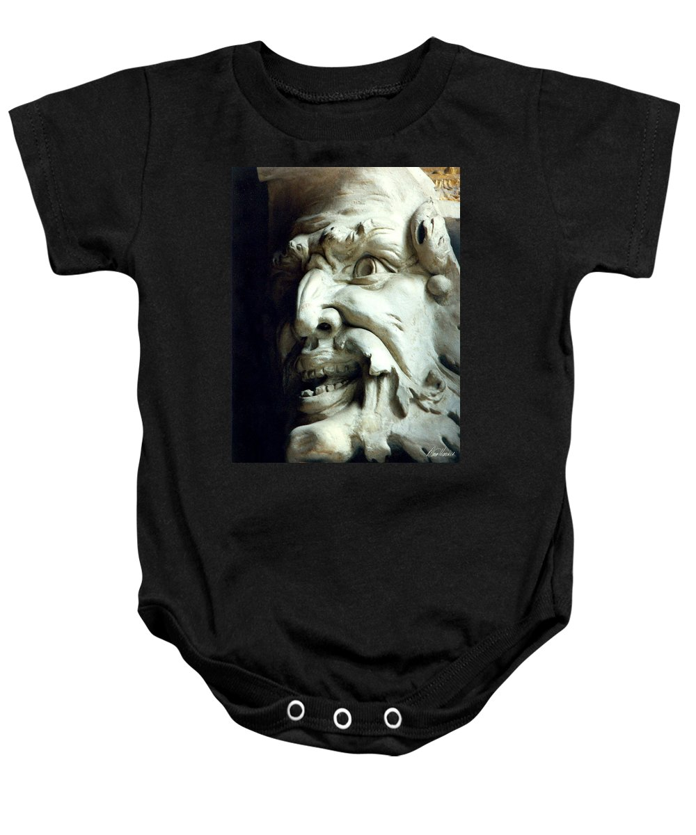 Gargoyle Baby Onesie featuring the photograph Scary Face by Diana Haronis