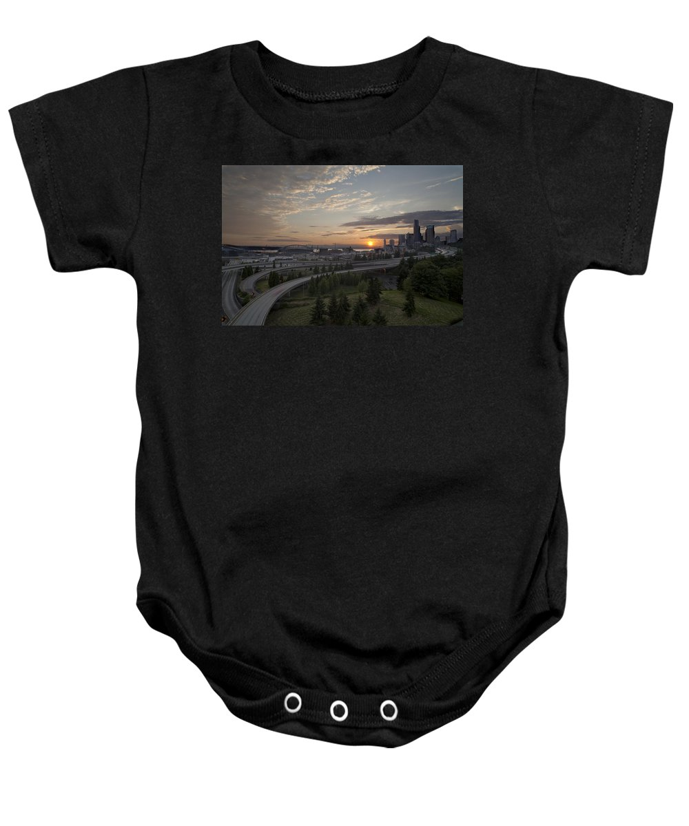 Seattle Baby Onesie featuring the photograph Seattle Arrival Sunset by Mike Reid