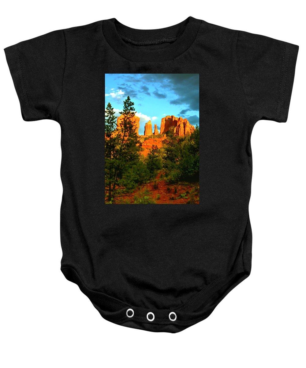 Desert Baby Onesie featuring the photograph Sedona Sunset by Ellen Heaverlo