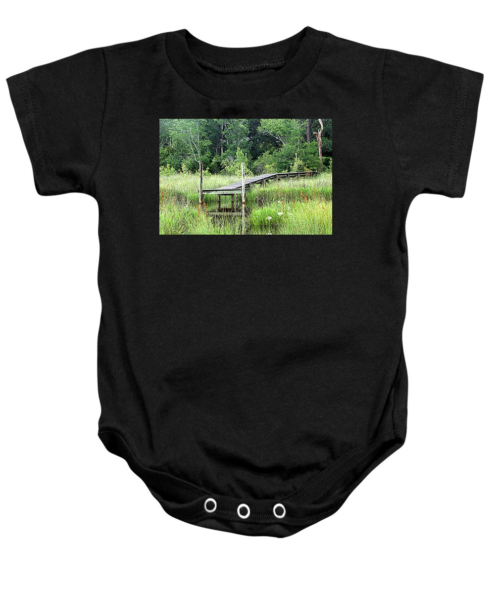 Pier Baby Onesie featuring the photograph Serenity Pier by Beth Gates-Sully