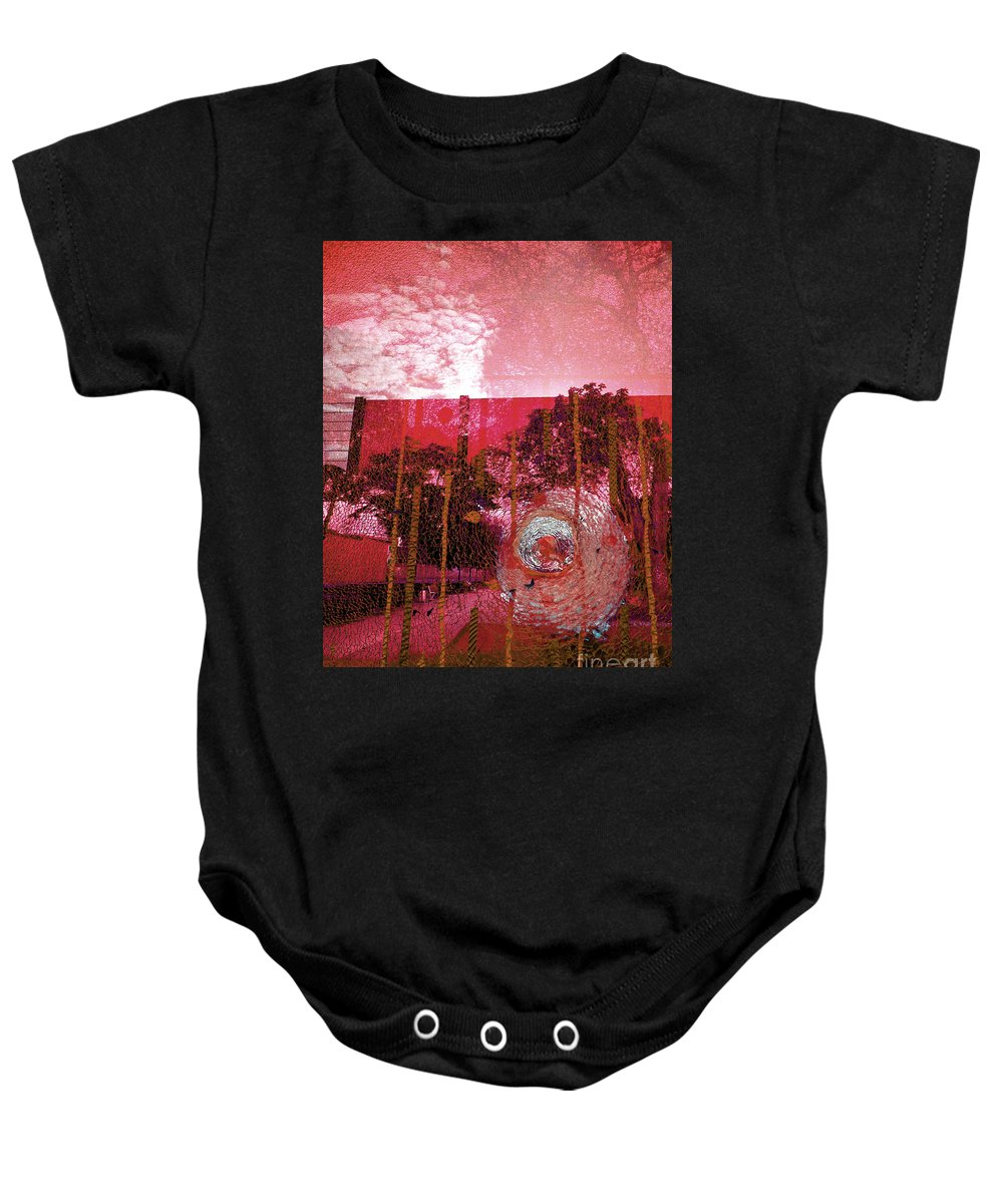 Abstract Photography Baby Onesie featuring the photograph Abstract Shattered Glass Red by Andy Prendy