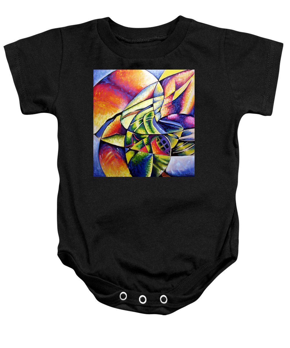 Abstract Baby Onesie featuring the painting Shattered Values by Che Hondo