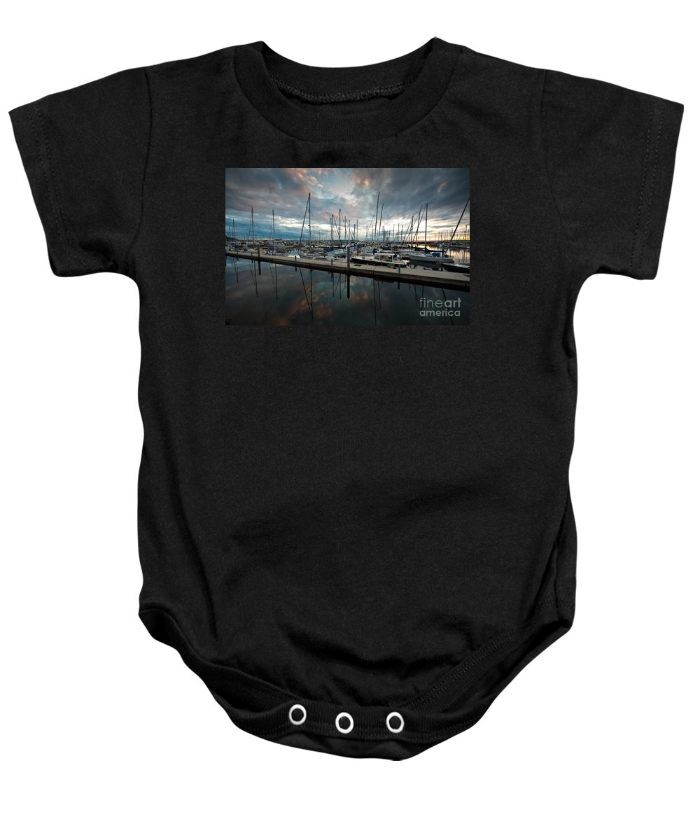 Marina Baby Onesie featuring the photograph Shilshole Marina Tranquility by Mike Reid