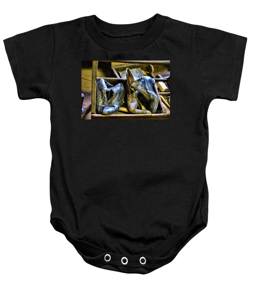 Shoe Baby Onesie featuring the photograph Shoe - Vintage Ladies Boots by Paul Ward