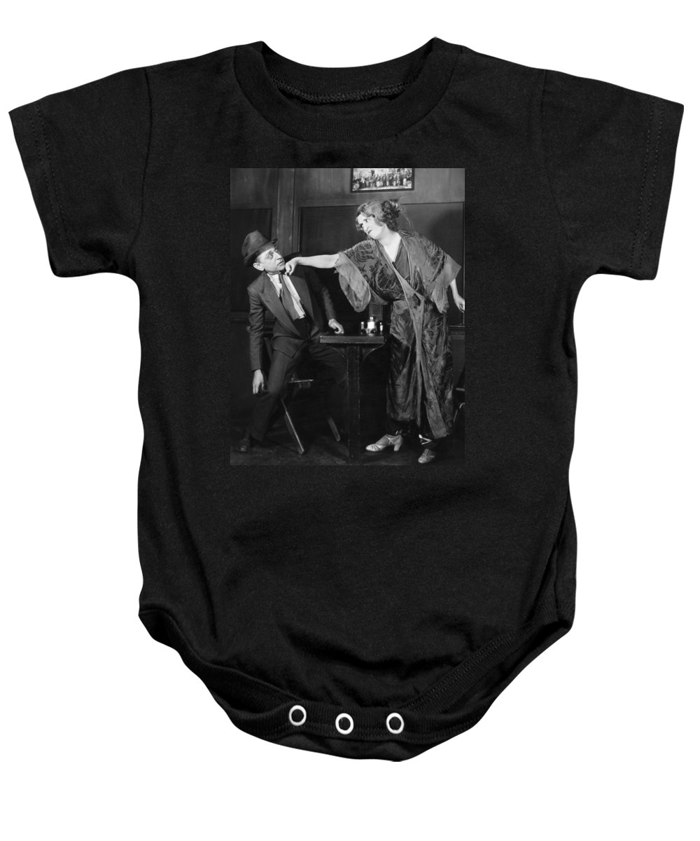 -man In Distress- Baby Onesie featuring the photograph Silent Still: Man In Distress by Granger