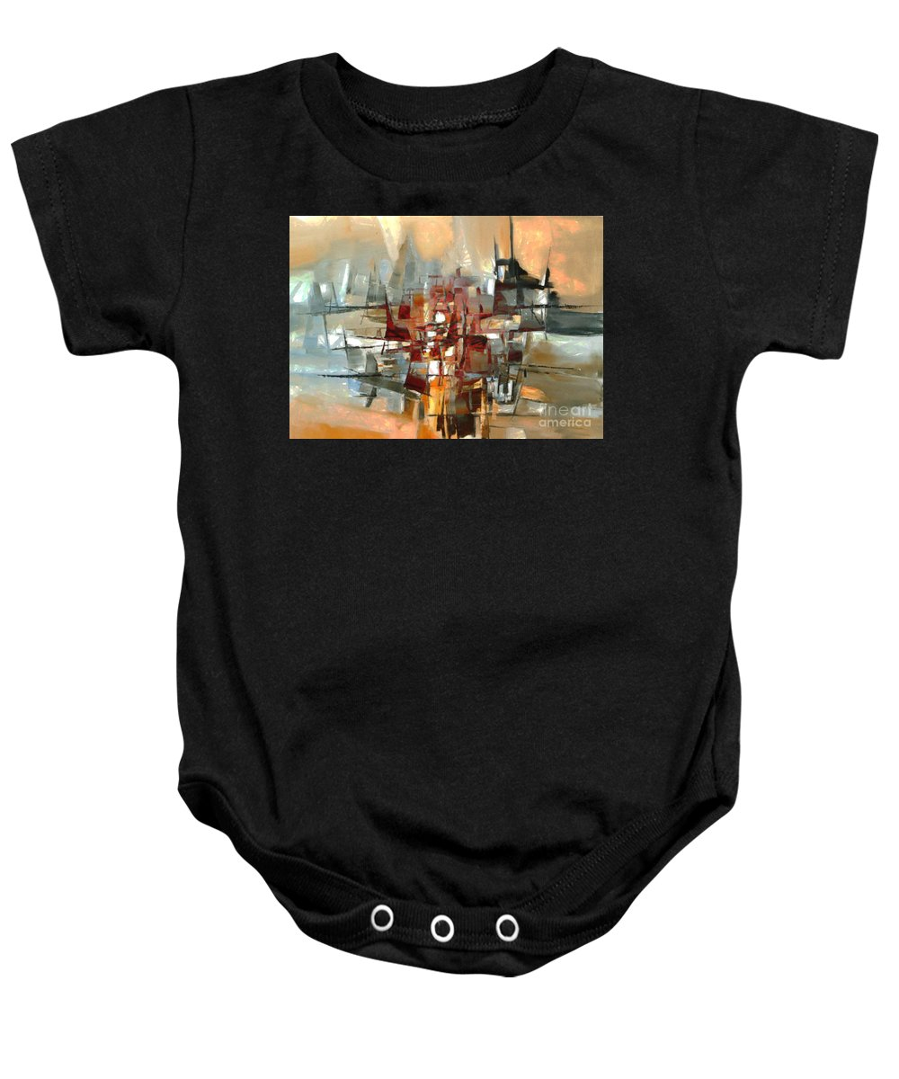 Abstract Baby Onesie featuring the painting Silhouette Of A City Is Reflected In The Lake by Ben Rotman