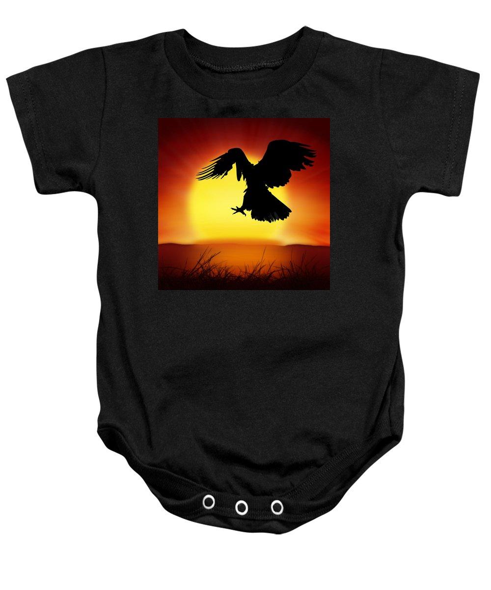 Animal Baby Onesie featuring the photograph Silhouette Of Eagle by Setsiri Silapasuwanchai