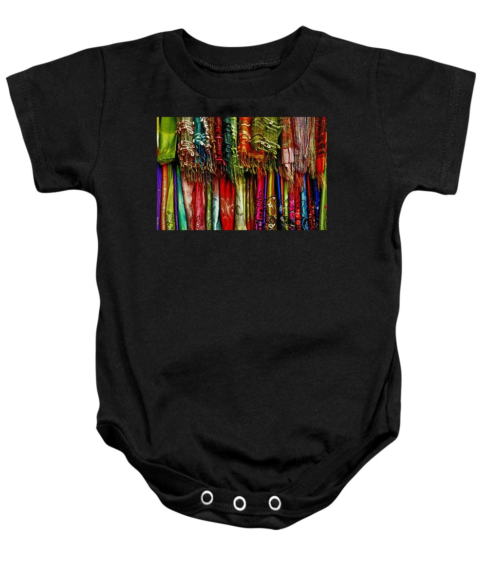 Abstract Baby Onesie featuring the photograph Silk Dresses In Vietnam by Skip Nall